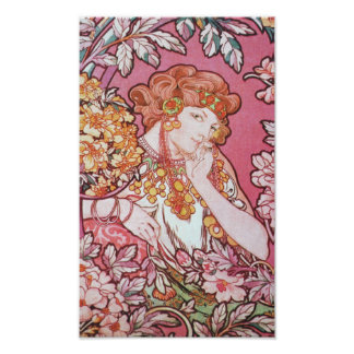 Rosa Mucha för vintage konst Poster