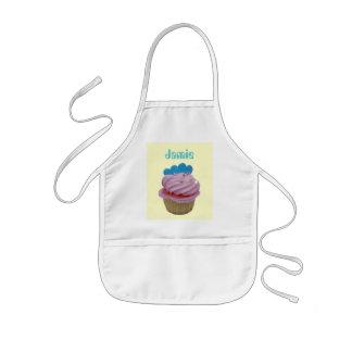 Rosa muffin med blåtthjärtor barnförkläde