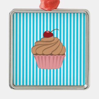 Rosa muffin på kricka julgransprydnad metall