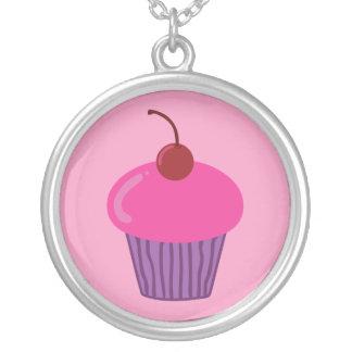 Rosa muffin silverpläterat halsband