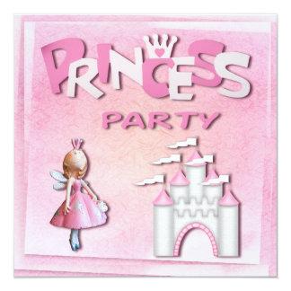 Rosa muffin & slott för Princess födelsedagsfest Skräddarsydda Inbjudan