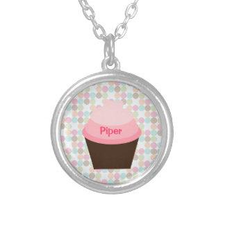"""Rosa muffinhalsband """"för pipblåsare"""" silverpläterat halsband"""
