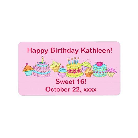Rosa muffins/Cake grattis på födelsedagen söta 16 Adressetikett
