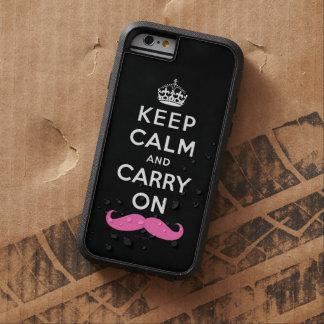 Rosa mustaschbehållalugn och bär på tough xtreme iPhone 6 skal