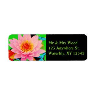 Rosa näckros returadress etikett
