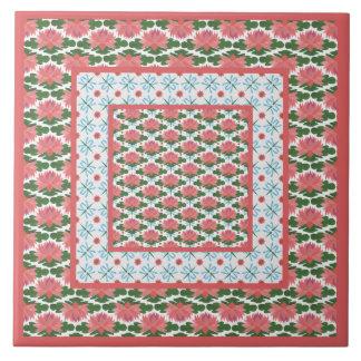 Rosa näckrosor, blåttsländor: Keramiskt belägga Kakelplatta