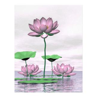 Rosa näckrosor och lotusblommablommor brevhuvud