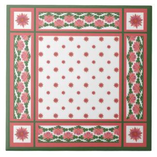 Rosa näckrosor på keramisk vit belägger med tegel kakelplatta
