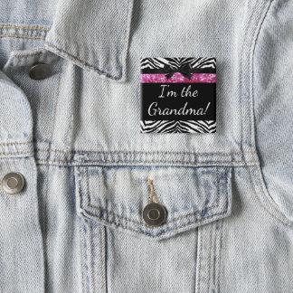 Rosa namn bricka för mormor för dusch för standard kanpp fyrkantig 5.1 cm