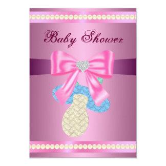 Rosa napparbaby showerinbjudan 12,7 x 17,8 cm inbjudningskort