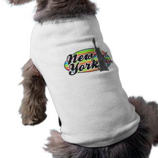 Rosa New York; Retro neonregnbåge Hund T-shirts