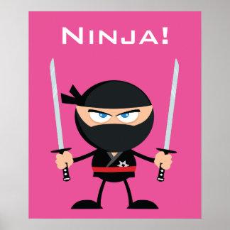 Rosa Ninja för tecknad krigare med två Katana Poster