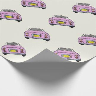Rosa Nissan Figaro på kräm- slående in papper Presentpapper