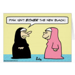 rosa ny svart för nunnor hälsnings kort