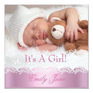 Rosa nyfödd bebisflickaAnouncement foto Fyrkantigt 13,3 Cm Inbjudningskort