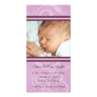 Rosa nytt kort för stilnyfödd bebisfoto