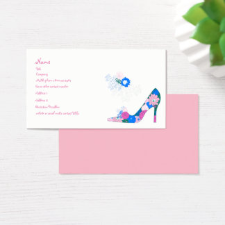 Rosa- och blåttblomman skor visitkort