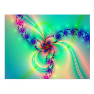 Rosa- och blåttfractalen virvlar runt vykort