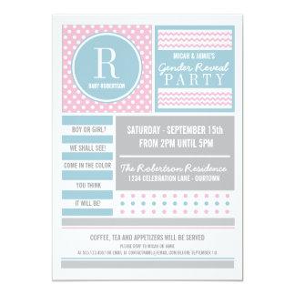 Rosa- och blåttgender avslöjer partyinbjudan 12,7 x 17,8 cm inbjudningskort