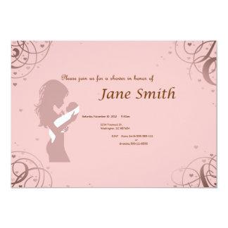 Rosa- och bruntbaby showerinbjudan 12,7 x 17,8 cm inbjudningskort