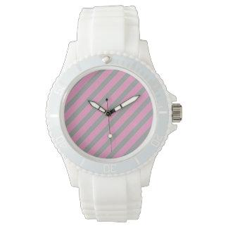 Rosa- och för grå färgranddesign klocka