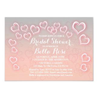 Rosa- och grå färghjärtamöhippainbjudan hrt1 11,4 x 15,9 cm inbjudningskort