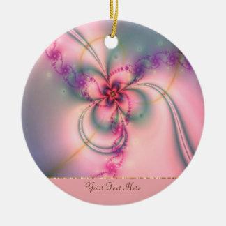Rosa- och gråttblomma julgransprydnad keramik