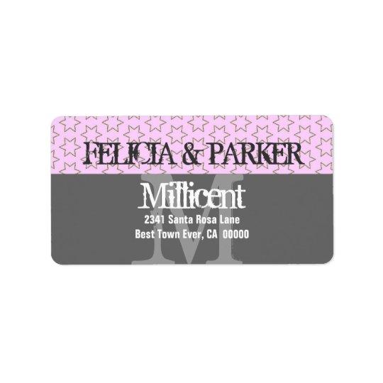 Rosa- och gråttstjärnor som gifta sig monogramen adressetikett