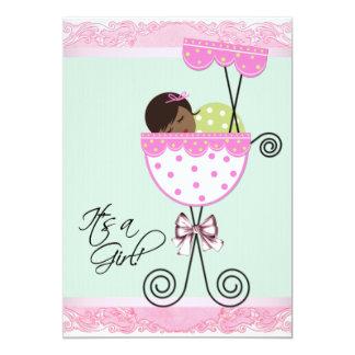 Rosa- och gröntbaby shower 12,7 x 17,8 cm inbjudningskort