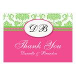 Rosa- och gröntbrölloptack visitkort mallar