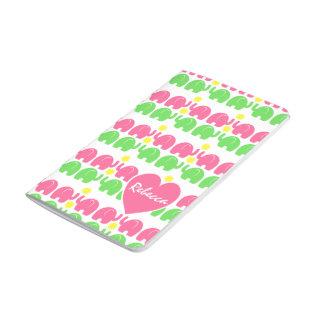 Rosa- och gröntelefantmönster med namn anteckningsbok