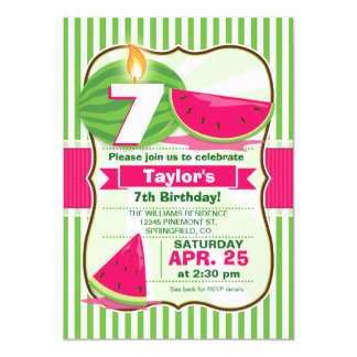Rosa- och gröntvattenmelon, barnfödelsedagsfest 12,7 x 17,8 cm inbjudningskort