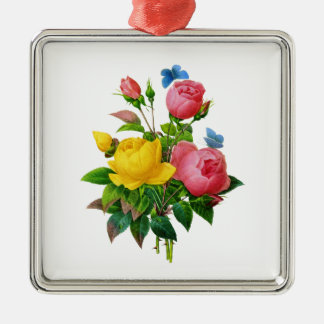 Rosa- och gul rosbukett vid Redoute Julgransprydnad Metall