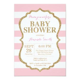 Rosa och guld- baby showerinbjudanglitter 12,7 x 17,8 cm inbjudningskort