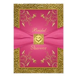 Rosa och guld- blom- inbjudningskort för möhippan