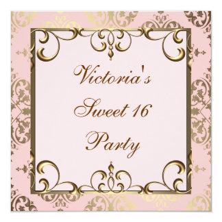 Rosa och guld- födelsedagsfest fyrkantigt 13,3 cm inbjudningskort