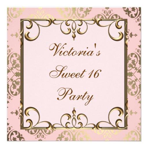 Rosa och guld- födelsedagsfest individuella inbjudningskort