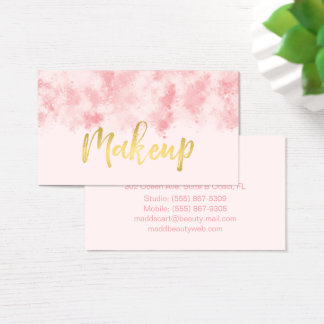 Rosa och guld- Makeupvisitkort Visitkort