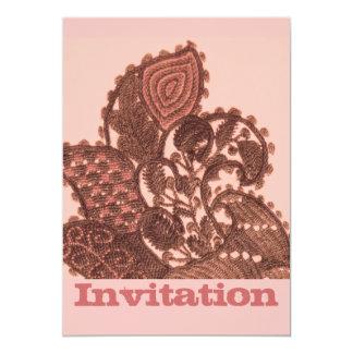 Rosa och guld- Paisley 12,7 X 17,8 Cm Inbjudningskort