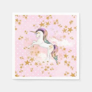 Rosa och guld- Unicornfödelsedagsfestservetter Papper Servetter