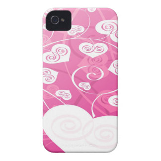 Rosa och gullig hjärtablackberry fodral Case-Mate iPhone 4 case