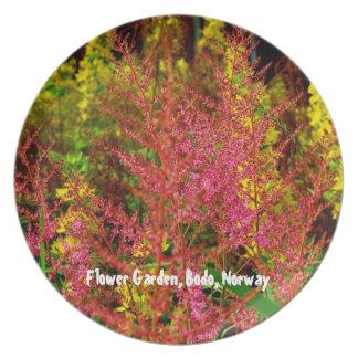Rosa- och gultblomsterträdgård tallrik