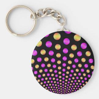 Rosa- och gultbollar på svart nyckelring