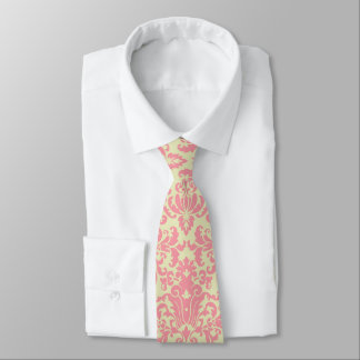 Rosa- och gultdamast slips