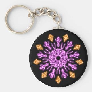 Rosa och orange neonblomma rund nyckelring