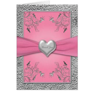 Rosa- och Pewterhjärtatackkort Hälsningskort