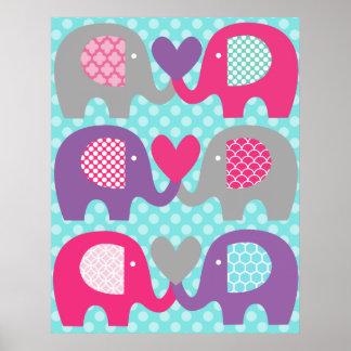 Rosa och purpurfärgad affisch för elefantkärlekbar