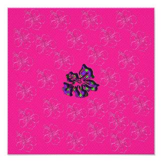 Rosa och purpurfärgad blom- hibiskusblomma fototryck