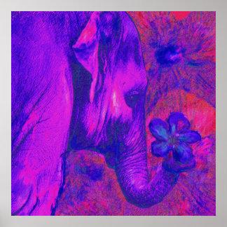 rosa och purpurfärgad elefant poster