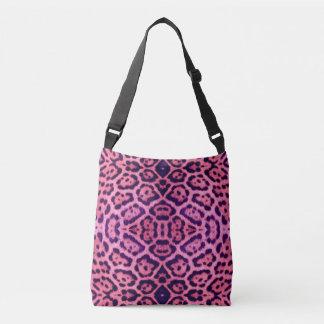 Rosa och purpurfärgad jaguarpäls axelväska